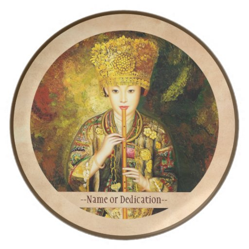 Zhangbo Hmong Culture Girl is Piping chinese lady Dinner Plate