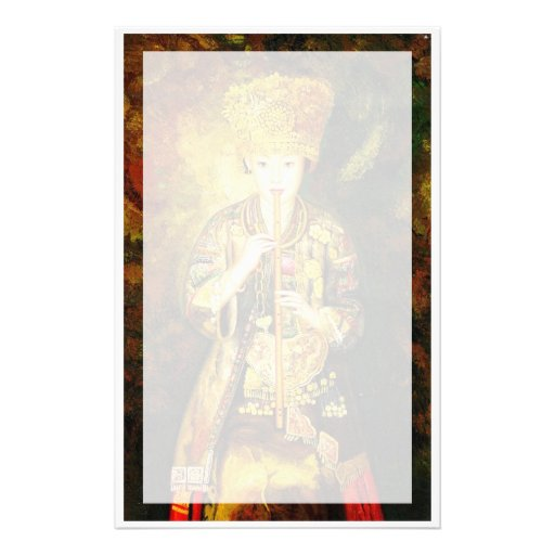 Zhangbo Hmong Culture Girl is Piping chinese lady Personalized Stationery