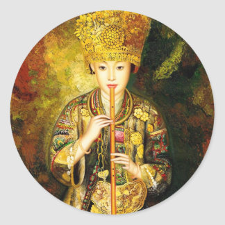Zhangbo Hmong Culture Girl is Piping chinese lady Round Sticker