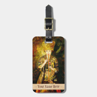 Zhangbo Hmong Culture Girl is Piping chinese lady Travel Bag Tags
