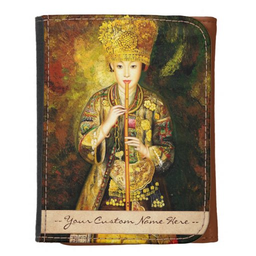 Zhangbo Hmong Culture Girl is Piping chinese lady Trifold Wallet