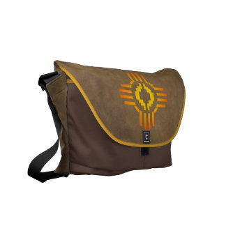 Zia Sun Sign Messenger Bag with buckskin cover