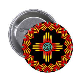 Zia sun - Zia Pueblo - New Mexico 6 Cm Round Badge