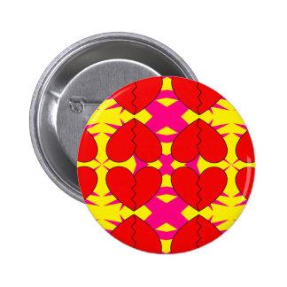 Zig-n-Zag Broken Hearts 6 Cm Round Badge