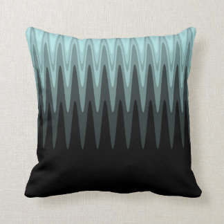 Zig Zag Black Teal Gray Pattern Cushion