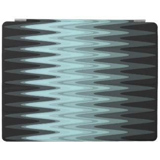 Zig Zag Black Teal Gray Pattern iPad Cover