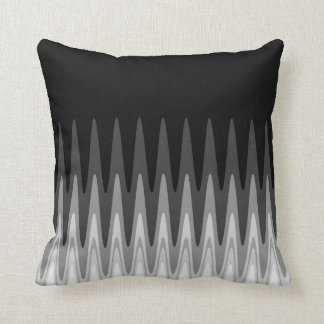 Zig Zag Black White Gray Pattern Cushion