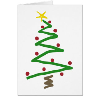 Zig Zag Christmas Tree Painting Greeting Cards