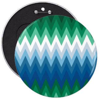 Zig Zag Green Blue Pattern 6 Cm Round Badge
