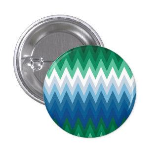 Zig Zag Green Blue Pattern 3 Cm Round Badge