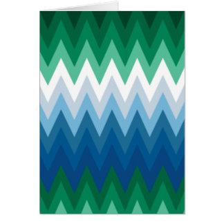 Zig Zag Green Blue Pattern Greeting Card