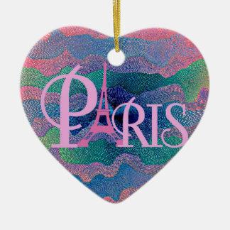 Zig Zag PARIS Ceramic Heart Decoration