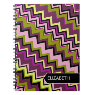 Zig-Zag Pattern with Area For Name Notebook