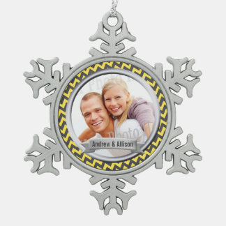 Zig Zag Pattern Yellow Photo Keepsake Snowflake Pewter Christmas Ornament