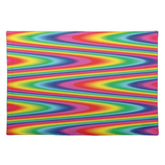 Zig Zag Psychedelic Rainbow Pattern Placemat