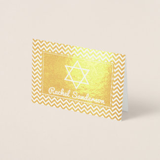 Zig Zag Real Gold Foil Bat Mitzvah Thank you Foil Card