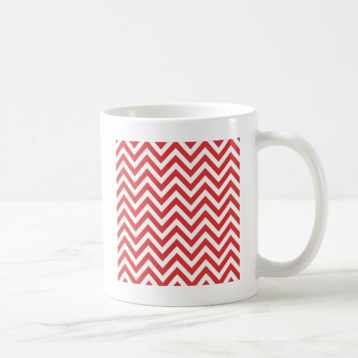 Zig Zag Striped Red White Pattern Qpc Template Coffee Mugs