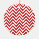 Zig Zag Striped Red White Pattern Qpc Template Round Ceramic Decoration