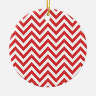 Zig Zag Striped Red White Pattern Qpc Template Round Ceramic Decoration