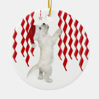 Zig Zags Circular Westie Pup Christmas Tree Orname Round Ceramic Decoration