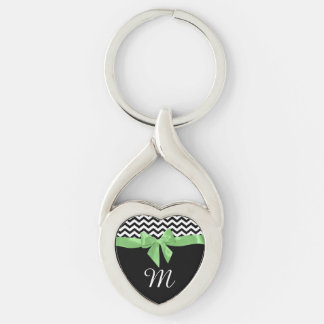 Zigzag and Green Bow with Monogram Key Ring