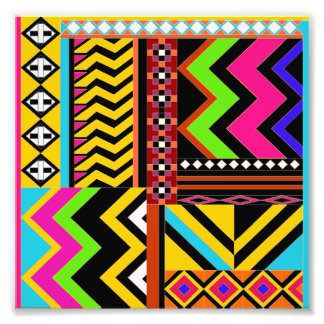 Zigzag and lines and shapes color collage photographic print
