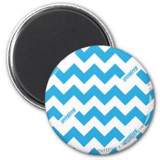 ZigZag Aqua 6 Cm Round Magnet