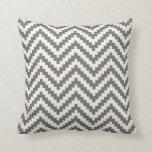Zigzag Chevron Block Stripe in Grey and Cream Cushion