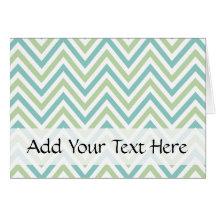 Zigzag (Chevron), Stripes - Green Blue White Cards