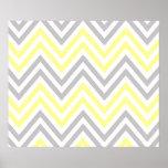 Zigzag (Chevron), Stripes - White Yellow Grey