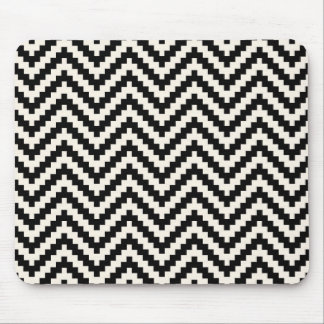 Zigzag Chevron Vertical Stripe in Black Mouse Pad