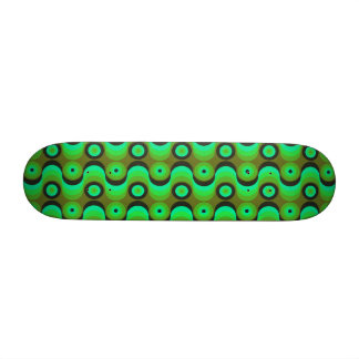 Zigzag curved lines circles green 1970s skate deck