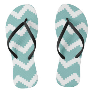Zigzag geometric pattern - blue and white. flip flops