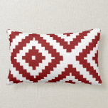 Zigzag Geometric Pattern Red and White Lumbar Cushion
