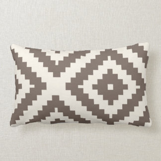 Zigzag Geometric Pattern Taupe Brown Lumbar Cushion