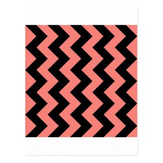 Zigzag I - Black and Coral Pink Post Card