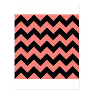 Zigzag I - Black and Coral Pink Postcard