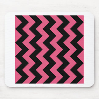 Zigzag I - Black and Dark Pink Mouse Pads