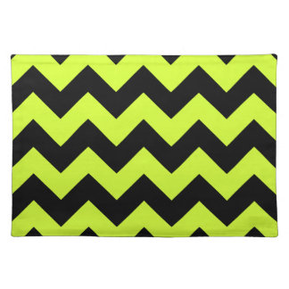 Zigzag I - Black and Fluorescent Yellow Placemat