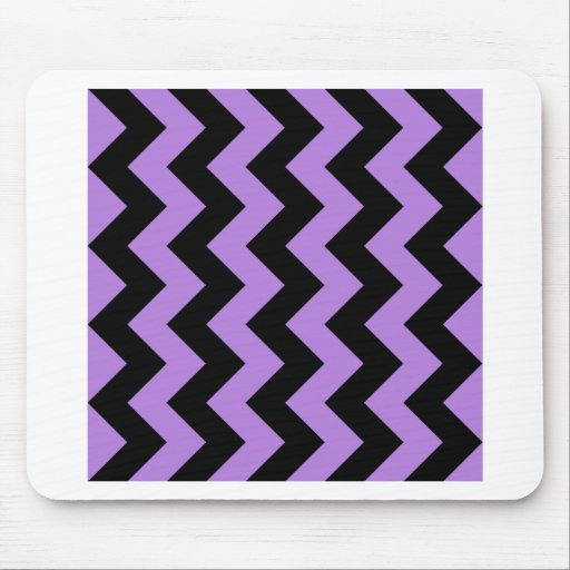 Zigzag I - Black and Lavender Mousepads