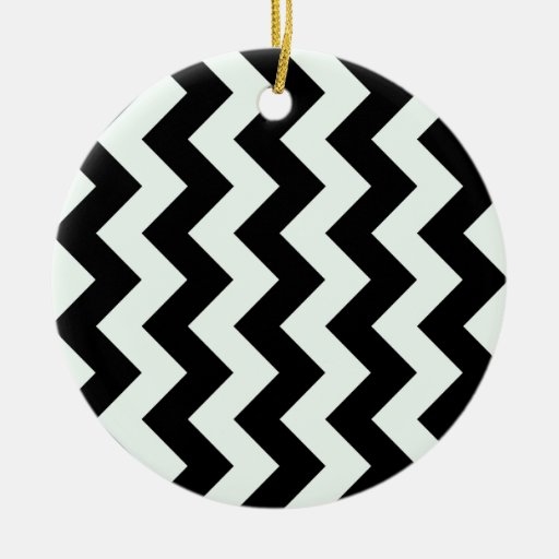 Zigzag I - Black and Pastel Green Christmas Ornament