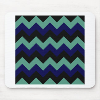 Zigzag I - Black Dark Blue and Light Green Mousepad