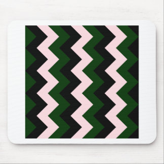Zigzag I - Black, Pink and Dark Green Mouse Pad