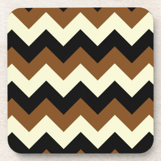 Zigzag I - Black, Yellow and Brown Drink Coasters