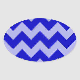 Zigzag I - Blue and Violet Oval Stickers