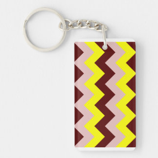 Zigzag I - Dark Red, Pink, Yellow Acrylic Keychains