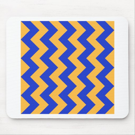 Zigzag I - Orange and Blue Mouse Pad