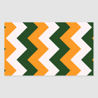Zigzag I - Pink, Dark Green, Orange Rectangular Stickers