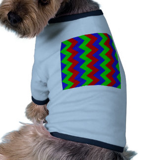 Zigzag I - Red, Blue, Bright Green Doggie Tee Shirt