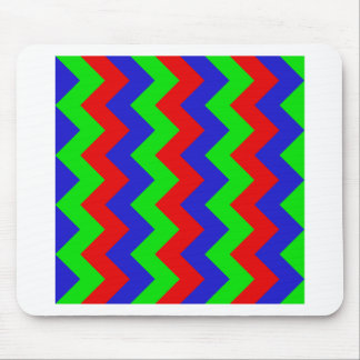 Zigzag I - Red, Blue, Bright Green Mouse Pad